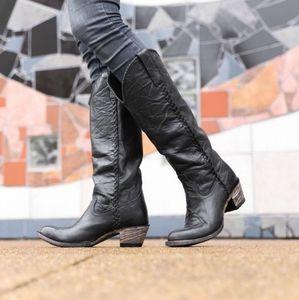 Lane Plain Jane Black Distressed Cowboy Boots 9